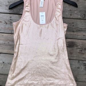 Cache Tops - Cache Sequined Pink Sleeveless Tank Top NWT